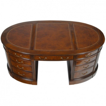 indonesia furniture Oval Desk Veneer Leather