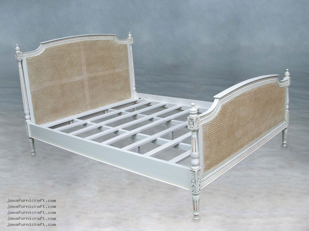 Louis Rattan Bed Queen Size Indonesia Furniture Jepara Furniture Mahogany Furniture Teak Furniture